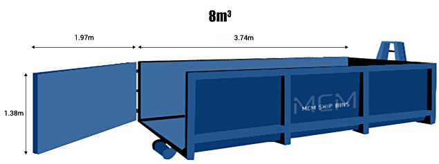 8 square metre hook lift skip bin